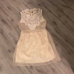 Cream Lace Party Dress